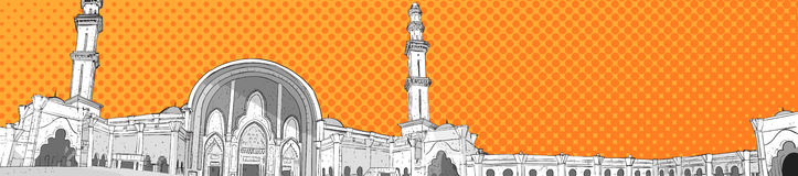 Nabawimoskee die Moslimgodsdienst Ramadan Kareem Holy Month bouwen Royalty-vrije Stock Foto