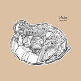 Nabe, pote caliente japonés vector del bosquejo del drenaje de la mano ilustración del vector