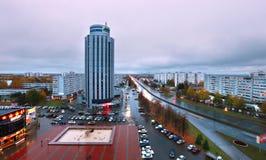 Naberezhnye Chelny,俄罗斯- 2014年10月7日:城市地平线与 库存图片