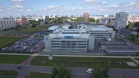 Naberezhnye Chelny, Tatarstan, Russia - August 08, 2019: Aerial drone flying close to Kamaz label headquarters main
