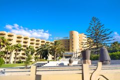 Resort hotel in coastal town Nabeul. Tunisia, North Africa. NABEUL, TUNISIA - JULY 02, 2017: Modern hotel Kheops located in new district of coastal resort town royalty free stock photography