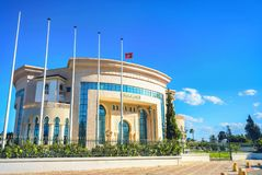 Beautiful modern palace of marriage and wedding ceremony in Nabeul. Tunisia, North Africa. NABEUL, TUNISIA - JULY 02, 2017: Modern palace of marriage, wedding royalty free stock images
