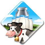 Nabiał dojna krowa z znakiem ilustracja wektor