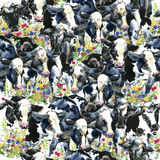 Nabiał krowa na śródpolnym bezszwowym wzorze ilustracji