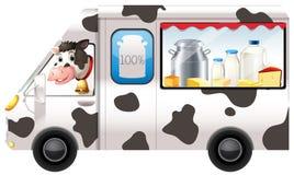 Nabiał krowa w ciężarówce royalty ilustracja