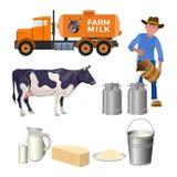 Nabiału gospodarstwa rolnego set ilustracji
