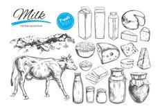 Nabiału wektoru kolekcja Krowa, dojni produkty, ser, masło, kwaśna śmietanka, curd, jogurt Rolni Foods Rolny krajobraz z c royalty ilustracja
