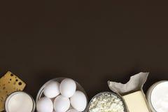 Nabiały i jajka pojęcia tła energii obraz Przestrzeń dla teksta Obraz Stock