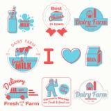 Nabiału gospodarstwa rolnego odznak rocznika styl Zdjęcie Stock
