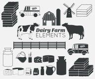 Nabiału gospodarstwa rolnego wektorowi elementy, dojny ikona set Zdjęcie Stock