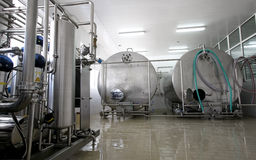 nabiału fabryczny wnętrza mleko Zdjęcia Royalty Free