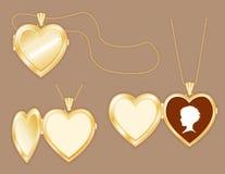 nabiera kamei złotego serca dziecka medalion s Obraz Royalty Free