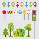 Transport set, road signs, signs, traffic lights, trees and bushes. Auto travel. Vector illustration vector illustration