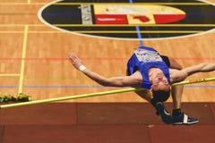 Nabokau Dmitri Belarus utför höjdhopp under den 19th mästerskapet av inomhus höga Jumpn på Janury 27, 2018 i Hustopece Arkivbilder