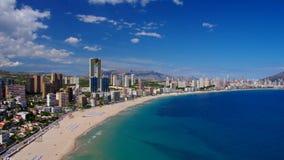Nabrzeże plaża w Benidorm i drapacz chmur, Costa Blanca zbiory