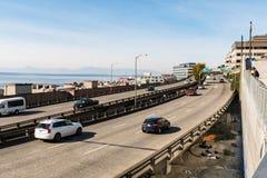 Nabrzeże autostrada obok szczupaka rynku w Seattle fotografia royalty free