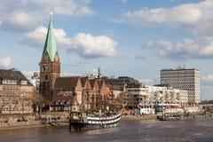 Nabrzeże deptak w Bremen Zdjęcia Royalty Free