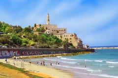 Nabrzeże i plaża stary Jaffa, Tel Aviv, Izrael Fotografia Royalty Free