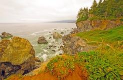 Nabrzeżna mgła i skały na Kalifornia wybrzeżu obraz royalty free