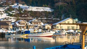 Nabrzeżny Śnieżny Denny molo port zdjęcie royalty free