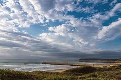 Nabrzeżny Krajobrazowy Wydmowy roślinności plaży morze Przeciw Chmurnemu niebu Obraz Stock