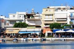 Nabrzeże restauracje, Agios Nikolaos Zdjęcia Royalty Free