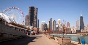 Nabrzeża mola Illinois miasta Chicagowska linia horyzontu Fotografia Royalty Free