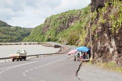 Nabrzeżna droga na Mauritius wyspie Zdjęcie Royalty Free