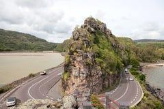 Nabrzeżna droga na Mauritius wyspie Zdjęcia Royalty Free