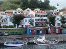 Nabrzeżni budynki w Azores Obraz Stock
