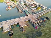Nabrzeżny most w Chonburi Fotografia Stock