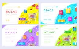 Nabywający w sklepowej informacji Zakupy broszurki karty set Biznesy dla sprzedaż szablonu flyear, sieć sztandar, ui ilustracja wektor