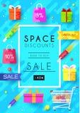 Nabywający w sklepowych ewidencyjnych kartach ustawiać Zakupy szablon flyear, magazyny, plakaty, książkowa pokrywa, sztandary royalty ilustracja