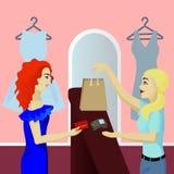 Nabywca w sklepów wynagrodzeń karcie ilustracja wektor