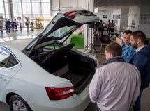 Nabywcy oceniają bagażnika nowy samochód Obrazy Royalty Free