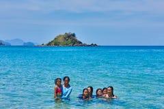 Nacapan beach filippino natives people Palawan Philippines Stock Photography