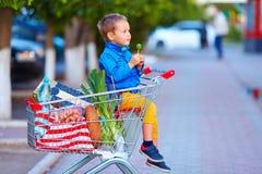 Nach dem Einkauf scherzen Sie in der Laufkatze voll von Nahrungsmitteln Stockbild