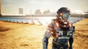 Nach der Untersuchung von Sonnenkollektoren Astronaut Marsmensch kommt zur Basis zurück Super realistisches Konzept stock abbildung
