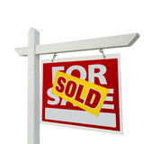 Nach Hause verkauft für Verkaufs-Grundbesitz-Zeichen lizenzfreies stockfoto