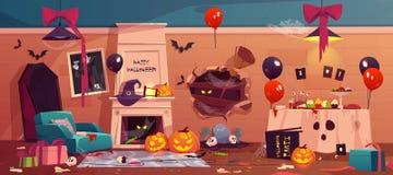 Nach Partei verzierte Verwirrung in Halloween Raum, stock abbildung