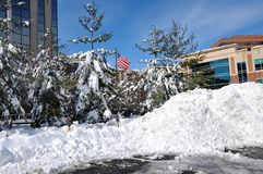 Nach Schneefällen. Stockfotos