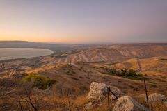 Nachal stream Samach and the Golan Heights. View of the Golan Heights with Nachal stream Samach and the northern part of the Sea of Galilee the Kinneret lake, at Royalty Free Stock Photo