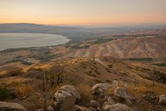 Nachal stream Samach and the Golan Heights. View of the Golan Heights with Nachal stream Samach and the northern part of the Sea of Galilee the Kinneret lake, at Stock Photography