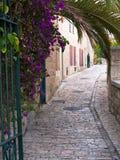 Nachbarschaft in altem Jerusalem von Yemin Moshe. Stockfotos