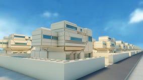 Nachbarschaft und futuristische Häuser Lizenzfreie Stockfotografie
