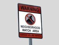 Nachbarschafts-Verbrechen-Uhr-Zeichen Stockbilder