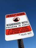Nachbarschafts-Verbrechen-Uhr-Zeichen Stockfotografie