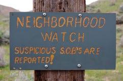 Nachbarschaftswache-Zeichen Stockfotos