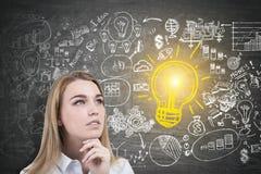 Nachdenkliche blonde Frauen- und Geschäftsidee Lizenzfreies Stockfoto