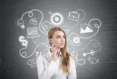 Nachdenkliche blonde Geschäftsfrau und Unternehmensplan Lizenzfreie Stockbilder